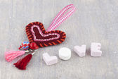 Handmade heart and love in candy letters — Stock Photo