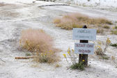 Sign board at Angel Terrace, Yellowstone National Park — Stock Photo