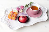 Tray with presents for Mothers Day (Mother's Day) — Stock Photo