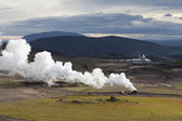 Landscape in Iceland with a plume of smoke, Krafla geothermal po — Stock Photo