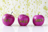 Get well soon card with handpainted apples — 图库照片