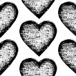Vector sketchy seamless pattern heart - Stock Vector