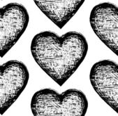 Vector sketchy seamless pattern heart — Stock vektor