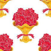 Roses bouquet seamless pattern on white — Stock Vector