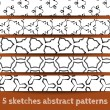 Set of sketches abstract seamless patterns — Stock Vector