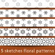 Stock Vector: Set of sketches floral patterns