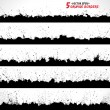 Set of grunge vector borders — Vector de stock