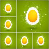 Set of 6 Happy Easter vector background — Stock Vector