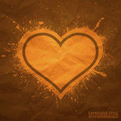 Creased old vector paper with handmade heart background — Vetorial Stock