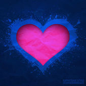 Creased old vector blue paper with cut pink heart background — Stock Vector