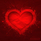 Creased old vector paper with cut red heart background — ストックベクタ