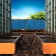 Stock Photo: Transportation of cargoes by rail in containers