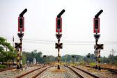 Smettere di segnalamento per giunzione ferroviaria — Foto Stock