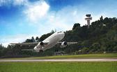 Airplane at takeoff — Stock Photo