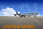 Airplane on the runway, wating for take off — Stock Photo