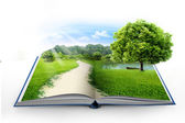Open book with green nature — Stock Photo