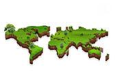 芝生のフィールドで世界地図背景 — ストック写真