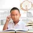 Stock Photo: Asiboy thinking in classroom