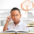 The Asian boy thinking in classroom  — Stock Photo