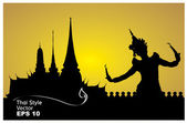 Thai dance woman with temple in thailand background silhouette — Stock Vector