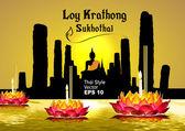 Silhouette, Sukhothai loy krathong festival — Stock Vector