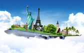 Travel the world by airplane, concept — ストック写真