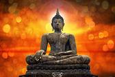 Buddha statue over scenic lighting background — Stock Photo