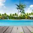Stock Photo: Summer holiday background and island with palm trees