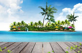 Summer holiday background and island with palm trees — Stock Photo