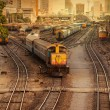 Railway Tracks at a Major Train Station at Sunset   — Stock Photo
