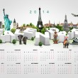 Calendar 2014 on travel background. — Stock Photo