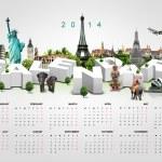 Calendar 2014 on travel background. — Stock Photo
