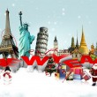 Stock Photo: Happy New Year concept on travel background