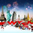 Happy New Year concept on travel background — Stock Photo