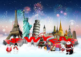 Happy New Year concept on travel background — Stockfoto