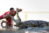 "THAILAND, BANGKOK - NOVEMBER 2: An unidentified zoo keeper puts a head in a mouth of the crocodile as part of ""Show of crocodiles"" show on November 2, 2013 in Bangkok, Thailand. — Stock Photo"