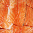 Raw big salmon bar over white background — Stock Photo