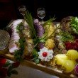 Stock Photo: Culinary meat bouquet with vegetables,sauces and vodka