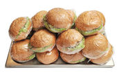 Packed hamburgers — Stock Photo