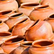 Clay jugs. World Music Festival Kraina Mriy (Dream Land). Kiev,Ukraine — Stock Photo