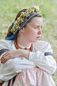 Girl in traditional ukrainian dress. World Music Festival Kraina Mriy (Dream Land). Kiev,Ukraine — Stockfoto