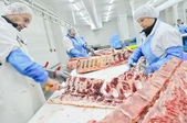 Meat processing in food industry — 图库照片