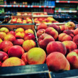Peaches at grocery store — Stock Photo #34142085