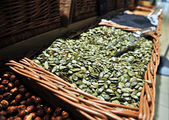 Pumpkin seeds in a store — Stockfoto