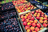 Peaches and plums at the grocery store — Stockfoto