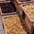 Stock Photo: Various dried fruits and nuts in market
