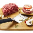Pieces of raw meat on the board — Stock Photo