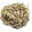 White tea. Closeup of chinese silver needle hair down white tea — Stock Photo