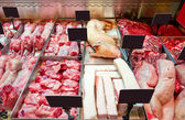Meat department in the store — Foto Stock