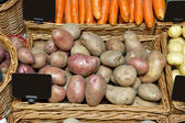 Pink potatoes in store — Stock Photo